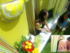 Lemonade-selling babe enjoys a good doggy-style drilling experience