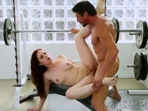 Red haired slutty hottie Jessica Ryan fucks with her  trainer in the gym