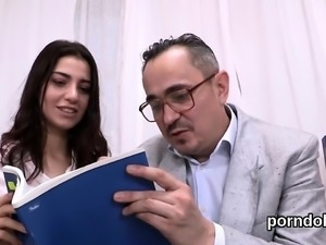 Cute schoolgirl gets tempted and poked by her aged teacher
