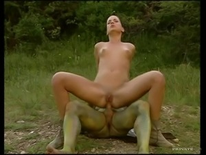 Hot Brunette Jamie Woods Getting Her Pink Shaved Pussy Fucked By A Monster