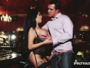 Yummy raven haired bombshell Emily B gets doggy fucked after steamy fellatio...