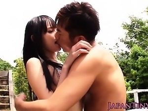 Petite japanese beauty banged outdoors