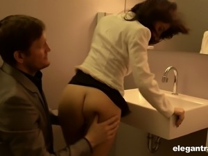 Gorgeous Ava Courcelles getting bonked in the restroom