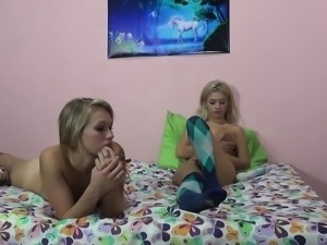 Two dazzling blondes express their passion for hard meat and wild sex