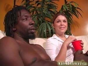 Beautiful Brunette Rides Like A Desperate Cowgirl On Top Of A Black Dude