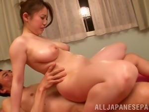 asian wife gets her sexy body oiled then her hairy pussy nailed