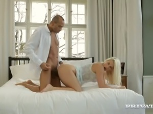 Delicious blond bitch Blanche Bradburry had steamy 69 spoe sex and her BF...