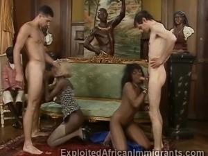 Wealthy black African beauties reward workers with hardcore