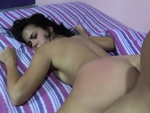 Enticing brunette Megan Reins gets fucked on camera for the first time