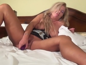 Tanya always easily pleases herself with that purple sex toy