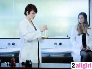 Sexy two doctor commits nude body for lesbian test