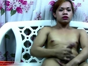 Shemale with big balls wants us to take a look at her erection