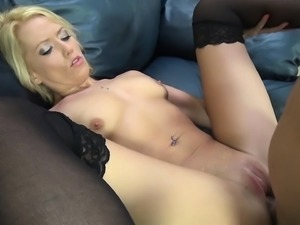 Angelic blonde Channel Rae spreads her sexy long legs for a big cock