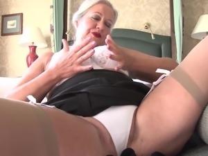 Granny has an elegant lingerie set under her work clothes