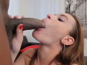 Busty white hooker Scorpio swallows monstrous black penis with passion