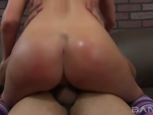 Bootylicious blond hooker Brianna Brooks gets her cunt slammed in various...