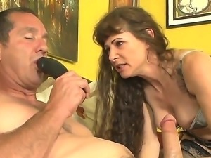 Lusty cock hungry experienced brunette wife Alexandra Silk with big tits and...