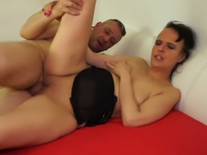 Mature black haired bitch with ugly saggy tits gets fucked in various poses