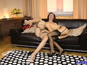 kinky MIlF pussylicks stockinged young babe