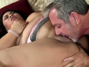 Brazen fat slut gets her giant hooters and plump cunt fucked by a silver fox