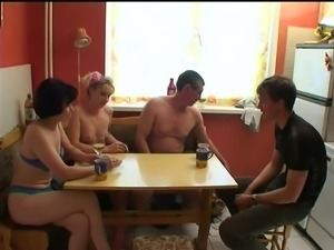 Small tits amateur eats a fat dong after being humped in a juicy foursome