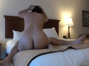 Ethnic slut with big boobs and a sublime ass goes wild for a long pole