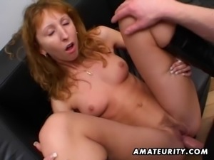 Redhead amateur Milf double blowjob, anal and double facial