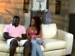 Amazing ebony babe fucked hard by fat black cock