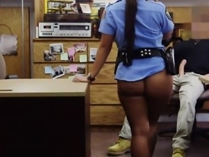 Latina police officer fucked by perverted pawn keeper