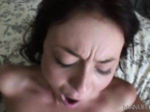 Slender girl with tiny tits spreads her sexy legs for a raging stick