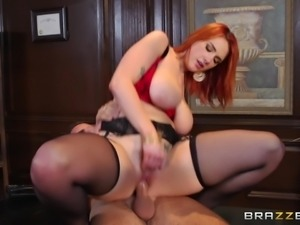 Beautiful Redhead Enjoying A Hardcore Cowgirl Style Fuck In Her Employer's...