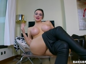 Hottest blowjob from the busty sex doll Aletta Ocean