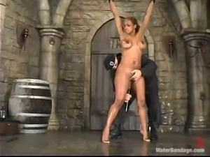 Booty ebony honey is getting through the hell of water bondage