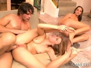 Two provocative girls seduce a hung stud to punish their fiery asses
