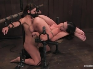 Two horny girls are bound in the device bondage