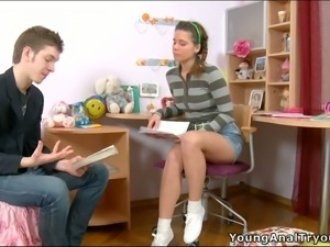 Horny stud helps teen sweetie to do her homework and to release her sex thirst