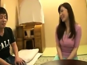 Ravishing Japanese mom changes clothes and shows off her bi
