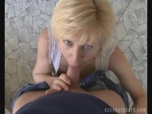 Mature Euro Amateur Showing Her Panties and Giving a Blowjob In POV