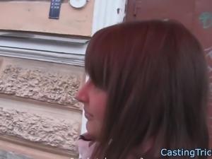 Casting european beauty sprayed with jizz