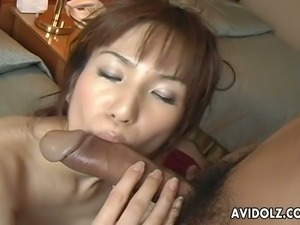 Haruki Tohno sucking fat ass cock balls deep in kinky Jap porn clip