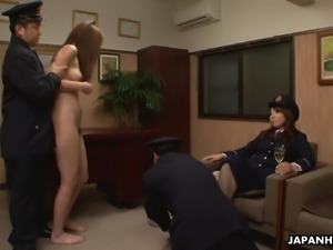 Asian naked prisoner goes through a Clockwork Orange treatment