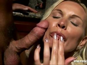 Amazing Blowjob with Cum Swallowing by Blonde MILF Winnie