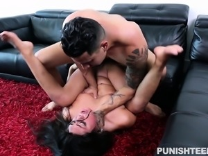 Kinky brunette with a perky ass uses her wet pussy to pay for the rent