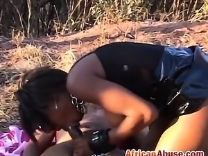 African slut outdoors fucking small tits missionary