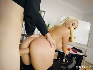 Blonde Christina Shine with massive tits is on the way