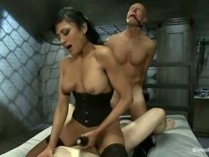 Guy Gets Ass Fucked by Brunette's Strapon and Gets Facial from Other Guy