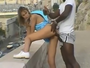 French slut fucked by a BBC on a street