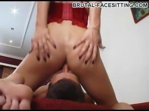 Horny Russian femdom doll rewarding slave with handjob