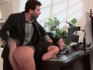 Hottest Asian babe in America gets screwed right there in the office