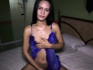 Ladyboy plays with her smooth stick then fucked bareback